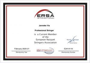 ERSA Certifacate Janneke Vis Advantage Tennis